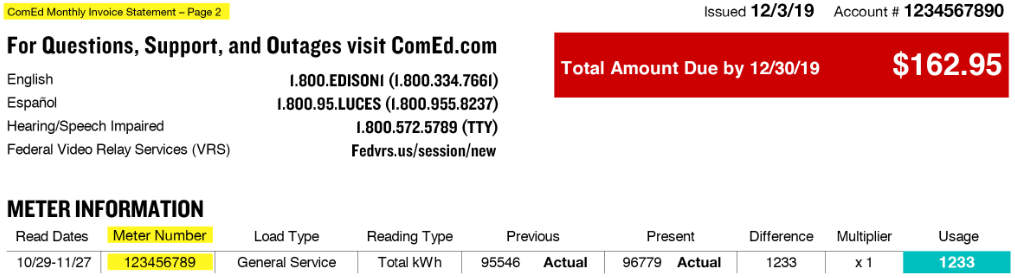 Your ComEd Meter Number